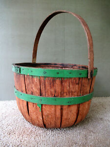 Antique Apple Basket Primitive Country Oak Wood Splint Green Paint Bail Handle