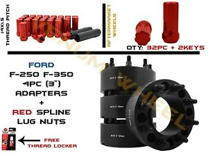 8x170 Black Hubcentric Wheel Spacers 3 125mm Center Bore Red Spline Lug Nuts