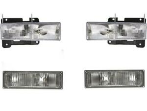 Headlights With Park Lamps For Chevy Gmc Truck 1990 1993 Set 4 92 93 Suburban