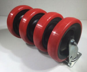 Swivel Casters Red 4 box With 6 x1 1 4 Non Marking Urethane 2 7 8 x3 5 8 Plate