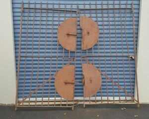 Vtg Antique Industrial Wrought Iron Entry Gate Machine Age Architectural Salvage