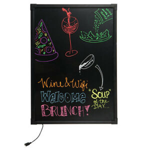 28 X 20 Black Led Illuminated Single Sided Write on Marker Menu Board