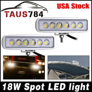 2x Spreader Led Deck Marine Lights For Jeep Car Boat Spot Light 18w White 7