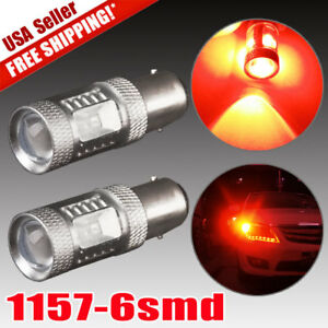 2x Red 30w 1157 Bay15d High Power Tail Brake Stop Backup Reverse Led Light Bulbs
