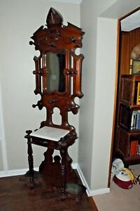 Antique Hall Hat Coat Rack With Mirror