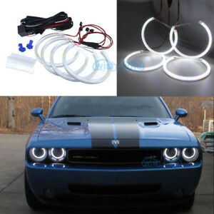 White Smd Led Angel Eye Halo Ring Retrofit Headlight For For Dodge Challenger
