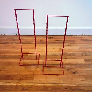 2 Red Double Round Strip Potato Chip Candy Clip Counter Display Racks