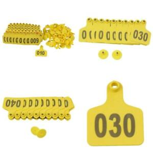 Yellow 1 100 Number Plastic Large Livestock Ear Tag Fit Cow Cattle Pack 100 ct
