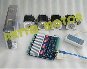 4 Axis Usbcnc Nema23 Stepper Motor 270oz in 3a 76mm tb6560 Driver Board Cnc Kit