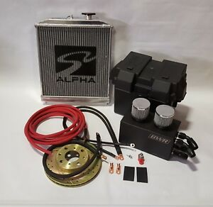 Honda Civic Red 0 Gauge B Series Battery Box Relocation Kit With New Ground Wires