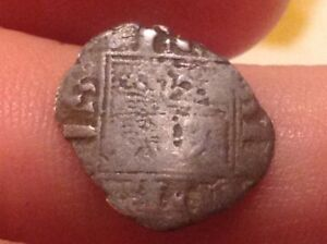 Small Spain Silver Castle Shield Medieval Coin With Front See Scans D8