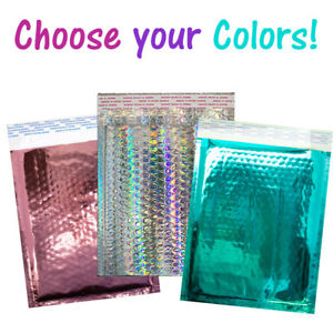 8 5x12 Holographic Pink Teal Metallic Bubble Mailers Color Padded Envelopes
