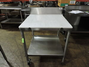 Commercial Stainless Steel Work Table With Poly Top Undershelf
