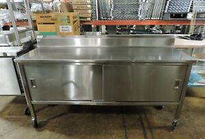 Commercial Stainless Steel Work Table With Cabinet Base 72 X 24
