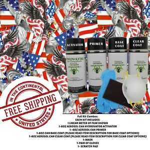 Hydrographic Water Transfer Hydro Dip Full Kit Activator Usa Icons Film