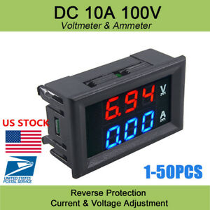 Us Dc 100v 10a Voltmeter Ammeter Blue Red Led Amp Dual Digital Gauge Detectors