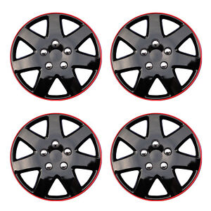 Hub Caps Style 962 Wheel Cover Ice Black With Red Trim 14 Set Of 4