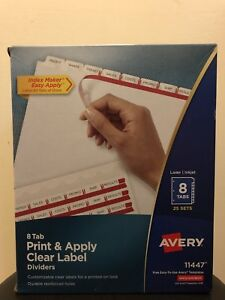 Avery 8 Tab Print Apply Clear Label Dividers 25 Sets 11447 Laser Ink Jet