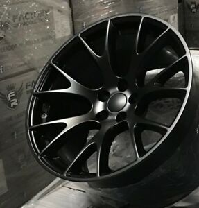 4 20 Staggered Hellcat Style Wheels Rims Satin Black Challenger 300c Charger
