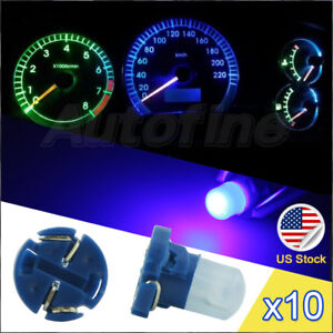 10pcs T4 t4 2 Cob Led Blue Cluster Instrument Dash Climate Base Light Bulb