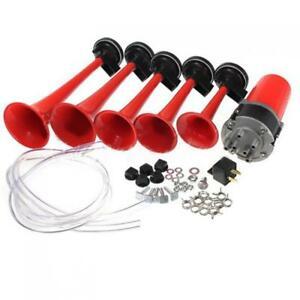 5x 125db 5 Dixie Red Air Horn Train Car Trumpet Speaker Air Compressor Dc12v
