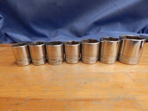 Snap on Tools 1 2 dr 7pc Shallow Socket Set 13 16 1 1 8 Tw281 361 6 Point