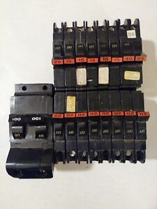 Whole Panel Of 16 Federal Pacific Stab Lok Circuit Breakers 15 20 40 100 Amp