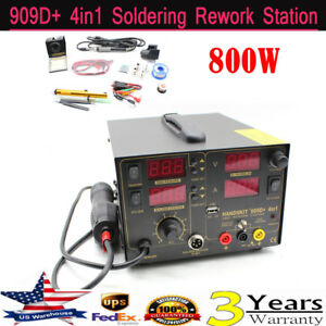 4in1 909d Digital Soldering Iron Hot Air Rework Station Led Display W 4 Nozzle