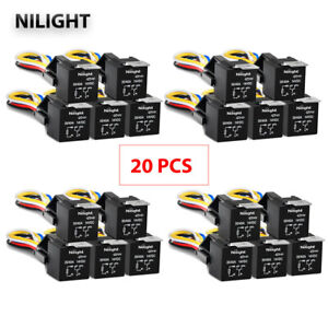 24pcs Gooacc 12v Car Spdt Automotive Relay 5 Pin 5 Wires Harness Socket 30 40a