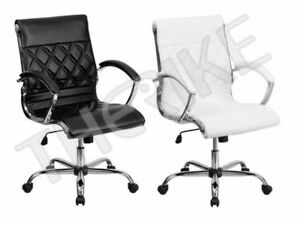 Flash Furniture Mid back Leather Executive Swivel Chair With Padded Arms New
