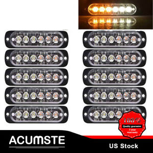 10x 6led Strobe Light Bar Emergency Warning Beacon Hazard Tow Truck Amber