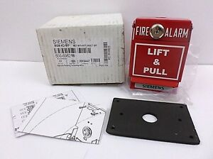 Siemens 500 698218 Metal Fire Alarm Lift Pull Station System Red Nos Open Box