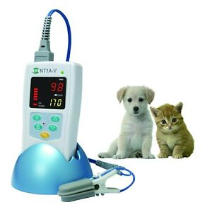 Nt1a v Veterinary Use Handheld Pulse Oximeter W Protective Cover Carrying Bag