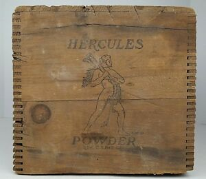 Vintage Hercules Powder High Explosives Dynamite Dovetailed Wooden Box Crate
