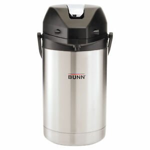 Bunn 2 5 Liter Lever Action Airpot Stainless Steel Silver Hot Coffee Carafe Pot