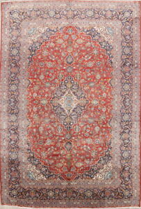 Outstanding Semi Antique Floral Red 10x14 Wool Kashan Persian Oriental Area Rug