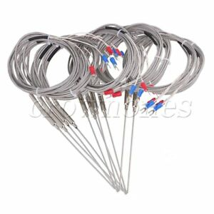 10pcs 1 5x100mm Thermocouple 2m K Type Temperature Probe Sensor 5mm Thread
