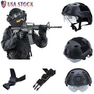 Outdoor Military Tactical Protective Fast Helmet Airsoft Paintball W Goggle US