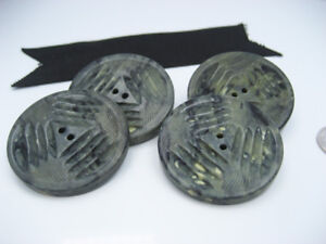 Antique Old Green Marble Celluloid Resin Poker Chip Coat Jacket Buttons Set Of 4