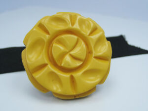 Antique Vintage Old Yellow Celluloid Resin Carved Flower Coat Jacket Button