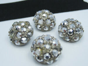 Antique Old Iridescent Rhinestone Cluster Set Silver Metal Dome Buttons Set Of 4