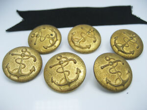 Antique Old Nautical Gilt Brass Anchor Rope Buttons Coat Jacket Set Of 6