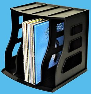 Vinyl Record Storage Crate Lp Album Box Holds Over 75 Lps Ring Binder Stand Leve