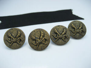 Antique Vintage Old Emboss Brass Crossed Torch Buttons Coat Jacket Set Of 4