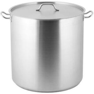 100 Qt Heavy duty Stainless Steel Restaurant Kitchen Stock Pot With Lid Cover
