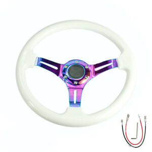 350mm 14inch Universal Abs Steering Wheel White Neo Chrome