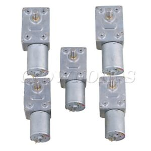 5 Pieces 12v 120rpm Metal Worm Turbo Gear Motor Right Angle Gear Dc Motor