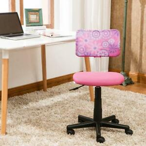 Student Desk Chair Durable Kids Teen Girls Swivel Wheels Computer Furniture Pink