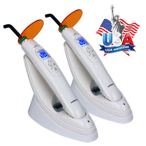 Usa 2x Dental Wireless Led Curing Light 1800mw With Lighting Meter Noiseless