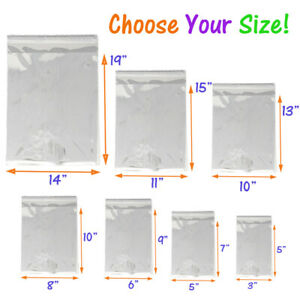 5 Sizes Crystal Clear Self Seal Transparent Plastic Cellophane Poly Opp Bags New